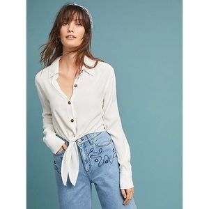 NWT Faithfull White Buttondown Tie Front Crop
